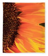 Close Up Of The Florets And Petals Of A Sunflower Fleece Blanket