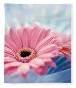 Close Up Of Two Pink Gerbera Daisies Fleece Blanket
