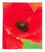 Close Up Poppies Fleece Blanket
