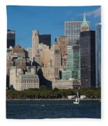 Close View Of Downtown Manhattan Eastern Skyline Fleece Blanket