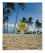Closed Lifeguard Shack On A Deserted Tropical Beach With Palm Tr Fleece Blanket
