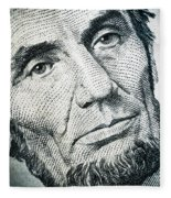 Closeup Of A Five Dollar Bill Fleece Blanket