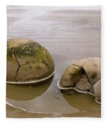 Closeup Of Famous Spherical Moeraki Boulders In Nz Fleece Blanket