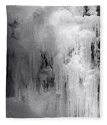 Closeup Of Icy Waterfall - Black And White Fleece Blanket