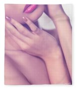 Closeup Of Sensual Woman Mouth And Pink Lips Fleece Blanket
