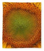 Closeup Of Sunflower Fleece Blanket