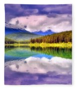 Cloud Cover On Lake Patricia Fleece Blanket