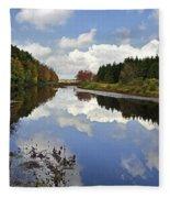 Autumn Lake Reflection Landscape Fleece Blanket