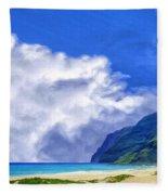 Clouds At Polihale Fleece Blanket