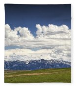 Clouds Over A Mountain Range In Montana Fleece Blanket