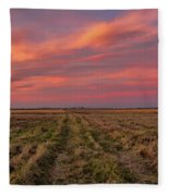 Clouds Over Landscape At Sunset Fleece Blanket