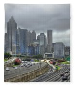 Cloudy Atlanta Capital Of The South Fleece Blanket