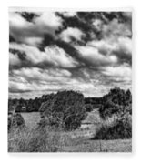 Cloudy Countryside Collage - Black And White Fleece Blanket