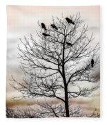 Cloudy Day Blackbirds Fleece Blanket