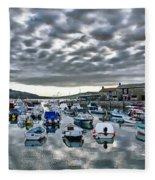 Cloudy Morning - Lyme Regis Harbour Fleece Blanket