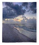 Cloudy Sunrise Over Orange Beach Fleece Blanket