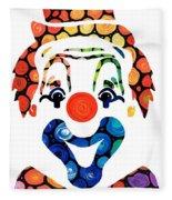 Clownin Around - Funny Circus Clown Art Fleece Blanket