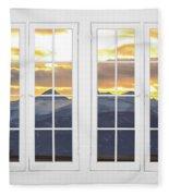 Co Mountain Gold View Out An Old White Double 16 Pane White Window Fleece Blanket