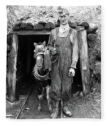 Coal Miner & Mule 1940 Fleece Blanket