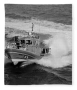 Coast Gaurd In Action In Black And White Fleece Blanket