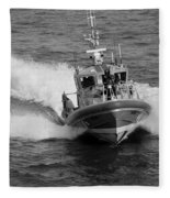 Coast Guard In Black And White Fleece Blanket