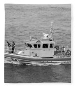 Coast Guard On Patrol In Black And White Fleece Blanket