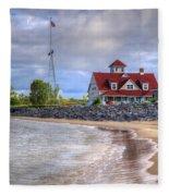 Coast Guard Station In Muskegon Fleece Blanket