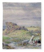 Coast Scene With Children In The Foreground, 19th Century Fleece Blanket