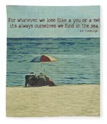 Coastal Beach - E.e. Cummings Sea Quote Fleece Blanket