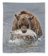Coastal Brown Bear With Salmon IIi Fleece Blanket