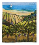 California Coastal Vineyards And Sail Boat Fleece Blanket