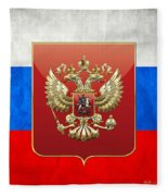 Coat Of Arms And Flag Of Russia Fleece Blanket