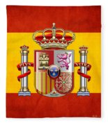 Coat Of Arms And Flag Of Spain Fleece Blanket