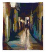 Cobblestone Nighttime Street Fleece Blanket