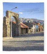 Cobblestone Street In Coporaque Fleece Blanket
