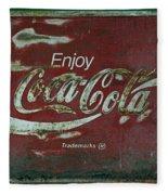 Coca Cola Green Grunge Sign Fleece Blanket