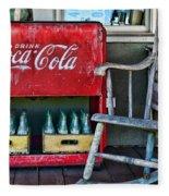 Coca Cola Vintage Cooler And Rocking Chair Fleece Blanket
