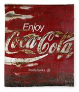 Coca Cola Wood Grunge Sign Fleece Blanket
