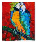Coco The Talkative Parrot Fleece Blanket
