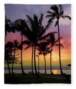 Coconut Island Sunset - Hawaii Fleece Blanket