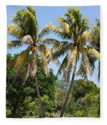 Coconut Palm Trees In Key West Fleece Blanket