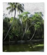 Coconut Trees And Other Plants Lined Up Fleece Blanket