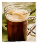 Coffe In Tall Glass On Green Fleece Blanket
