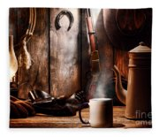 Coffee At The Cabin Fleece Blanket