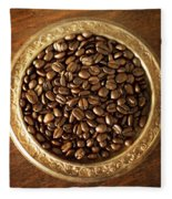Coffee Beans On Antique Silver Platter Fleece Blanket