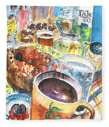 Coffee Break In Grakari In Crete Fleece Blanket