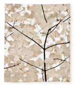 Coffee Brown Leaves Melody Fleece Blanket