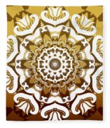 Coffee Flowers 10 Calypso Ornate Medallion Fleece Blanket