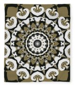 Coffee Flowers 10 Olive Ornate Medallion Fleece Blanket