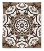 Coffee Flowers 10 Ornate Medallion Fleece Blanket